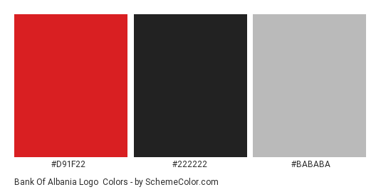 Bank of Albania Logo - Color scheme palette thumbnail - #d91f22 #222222 #bababa