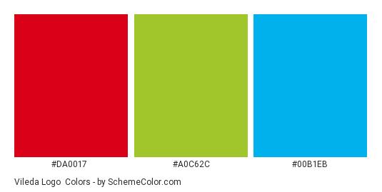 Vileda Logo - Color scheme palette thumbnail - #da0017 #a0c62c #00b1eb