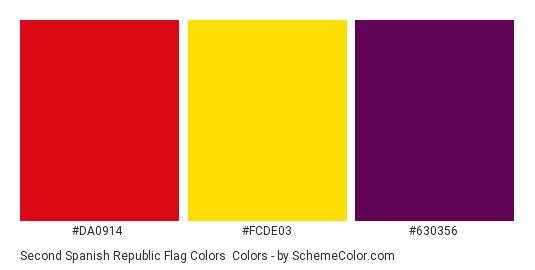 Second Spanish Republic Flag Colors - Color scheme palette thumbnail - #da0914 #fcde03 #630356