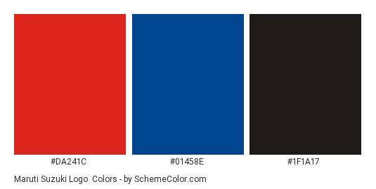Maruti Suzuki Logo - Color scheme palette thumbnail - #da241c #01458e #1f1a17