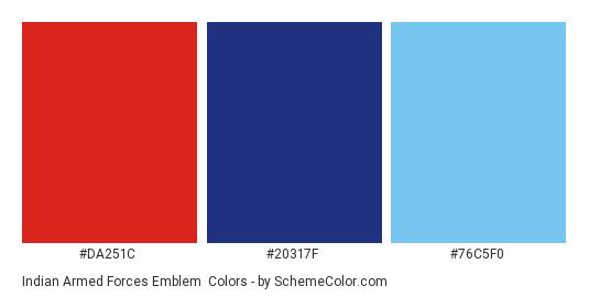 Indian Armed Forces Emblem - Color scheme palette thumbnail - #da251c #20317f #76c5f0