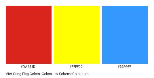 Viet Cong Flag Colors - Color scheme palette thumbnail - #da251d #ffff02 #3399ff