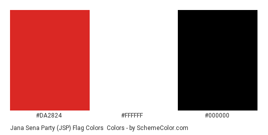 Jana Sena Party (JSP) Flag Colors - Color scheme palette thumbnail - #da2824 #ffffff #000000