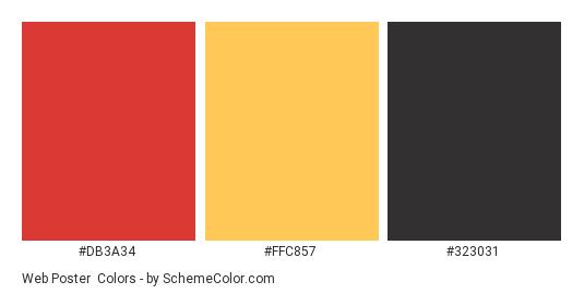 Web Poster - Color scheme palette thumbnail - #db3a34 #ffc857 #323031