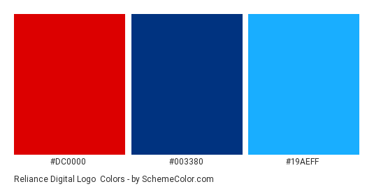 Reliance Digital Logo - Color scheme palette thumbnail - #dc0000 #003380 #19aeff