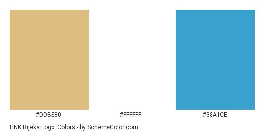 HNK Rijeka Logo - Color scheme palette thumbnail - #ddbe80 #ffffff #38a1ce