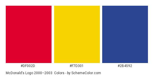 McDonald's Logo 2000–2003 - Color scheme palette thumbnail - #df002d #f7d301 #2b4592