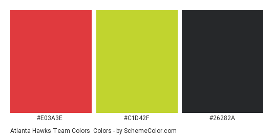 Atlanta Hawks Team Colors - Color scheme palette thumbnail - #e03a3e #c1d42f #26282a