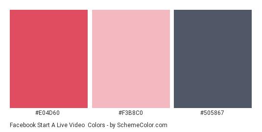 Facebook Start a Live Video - Color scheme palette thumbnail - #e04d60 #f3b8c0 #505867