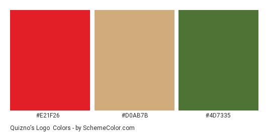 Quizno's Logo - Color scheme palette thumbnail - #e21f26 #d0ab7b #4d7335