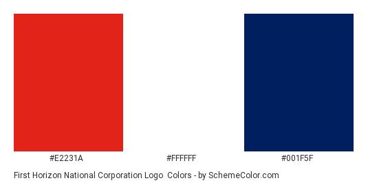 First Horizon National Corporation Logo - Color scheme palette thumbnail - #e2231a #ffffff #001f5f