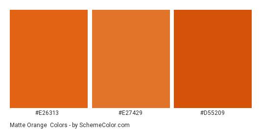 Matte Orange - Color scheme palette thumbnail - #e26313 #e27429 #d55209