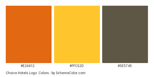 Choice Hotels Logo - Color scheme palette thumbnail - #e26812 #ffc52d #5e5745