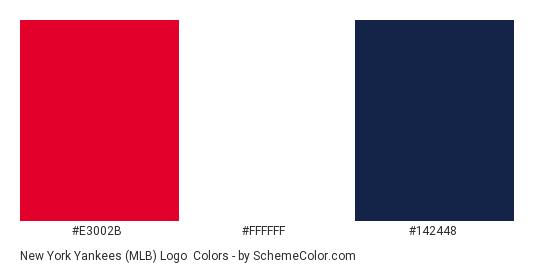 New York Yankees (MLB) Logo - Color scheme palette thumbnail - #e3002b #ffffff #142448
