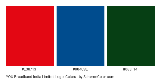 YOU Broadband India Limited Logo - Color scheme palette thumbnail - #e30713 #004c8e #063f14