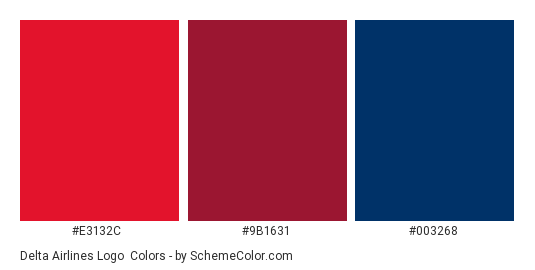 Delta Airlines Logo - Color scheme palette thumbnail - #e3132c #9b1631 #003268