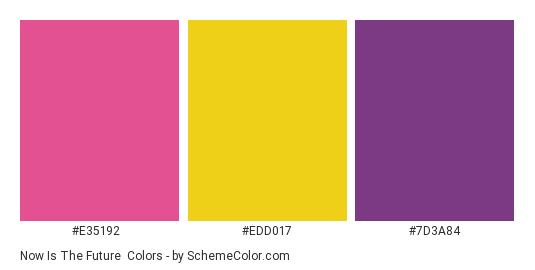 Now is the Future - Color scheme palette thumbnail - #e35192 #edd017 #7d3a84