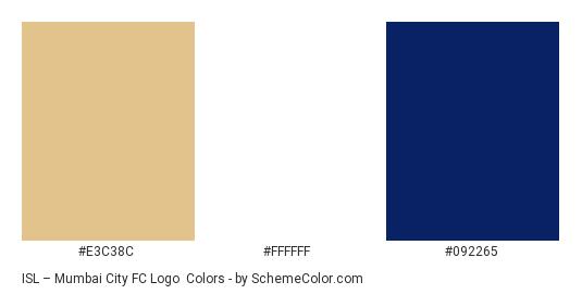 ISL – Mumbai City FC Logo - Color scheme palette thumbnail - #e3c38c #ffffff #092265