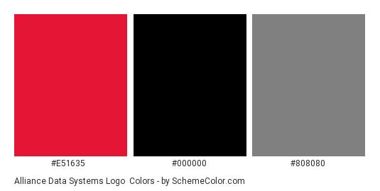 Alliance Data Systems Logo - Color scheme palette thumbnail - #e51635 #000000 #808080
