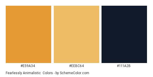 Fearlessly Animalistic - Color scheme palette thumbnail - #e59a34 #eebc64 #111a2b