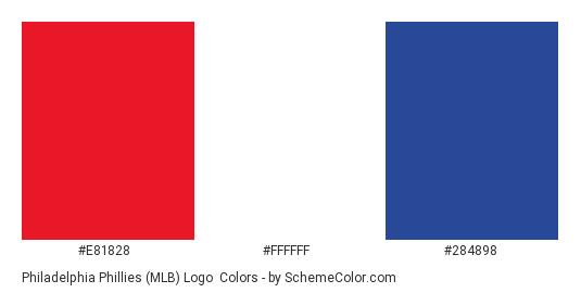 Philadelphia Phillies (MLB) Logo - Color scheme palette thumbnail - #e81828 #ffffff #284898