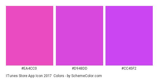 iTunes Store App Icon 2017 - Color scheme palette thumbnail - #ea4cc0 #d948dd #cc45f2