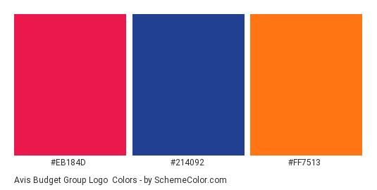 Avis Budget Group Logo - Color scheme palette thumbnail - #eb184d #214092 #ff7513