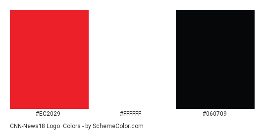 CNN-News18 Logo - Color scheme palette thumbnail - #ec2029 #ffffff #060709