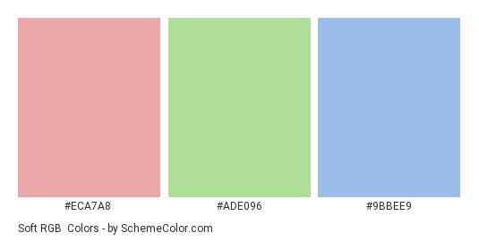 Soft RGB - Color scheme palette thumbnail - #eca7a8 #ade096 #9bbee9