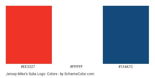 Jersey Mike's Subs Logo - Color scheme palette thumbnail - #ee3327 #ffffff #134a7c