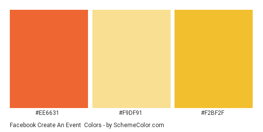 Facebook Create An Event - Color scheme palette thumbnail - #ee6631 #f9df91 #f2bf2f