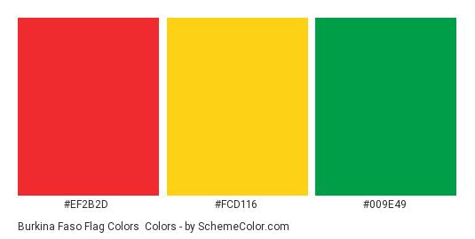 Burkina Faso Flag Colors - Color scheme palette thumbnail - #ef2b2d #fcd116 #009e49