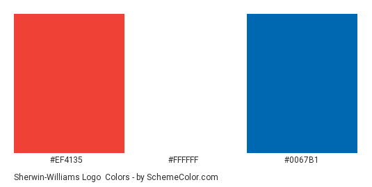 Sherwin-Williams Logo - Color scheme palette thumbnail - #ef4135 #ffffff #0067b1