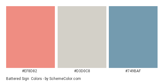 Battered Sign - Color scheme palette thumbnail - #ef8d82 #d3d0c8 #749baf