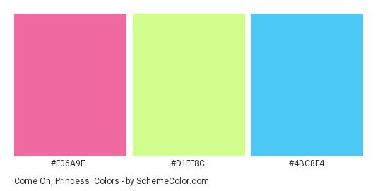 Come on, Princess - Color scheme palette thumbnail - #f06a9f #d1ff8c #4bc8f4