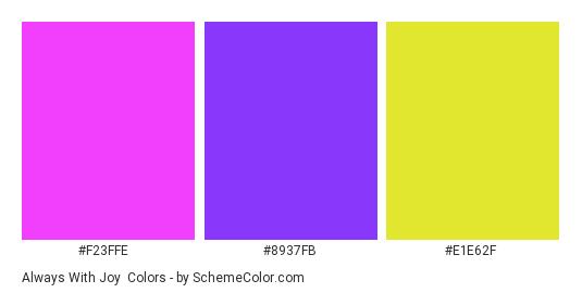 Always with Joy - Color scheme palette thumbnail - #f23ffe #8937fb #e1e62f