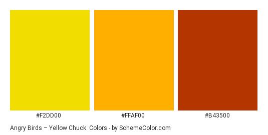 Angry Birds – Yellow Chuck - Color scheme palette thumbnail - #f2dd00 #ffaf00 #b43500
