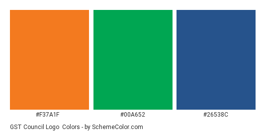 GST Council Logo - Color scheme palette thumbnail - #f37a1f #00a652 #26538c
