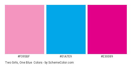 Two Girls, One Blue - Color scheme palette thumbnail - #f395bf #01a7e9 #e30089
