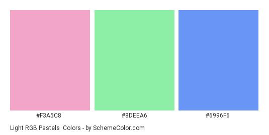 Light RGB Pastels - Color scheme palette thumbnail - #f3a5c8 #8deea6 #6996f6