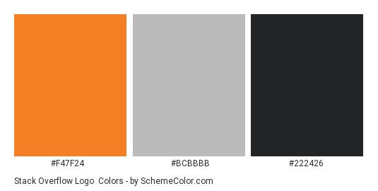 Stack Overflow Logo - Color scheme palette thumbnail - #f47f24 #bcbbbb #222426