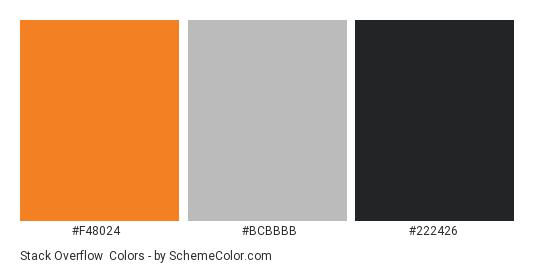 Stack Overflow - Color scheme palette thumbnail - #f48024 #bcbbbb #222426