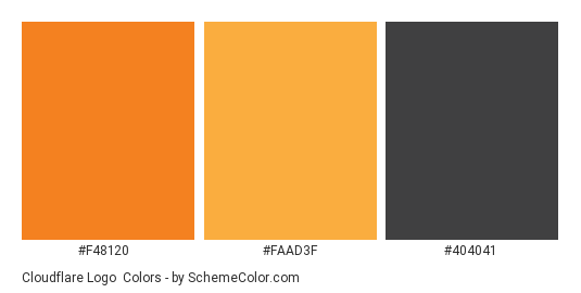 Cloudflare Logo - Color scheme palette thumbnail - #f48120 #faad3f #404041