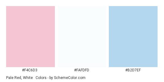 Pale Red, White & Blue - Color scheme palette thumbnail - #f4c6d3 #fafdfd #b2d7ef