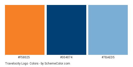 Travelocity Logo - Color scheme palette thumbnail - #f58025 #004074 #7baed5