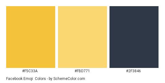 Facebook Emoji - Color scheme palette thumbnail - #f5c33a #fbd771 #2f3846