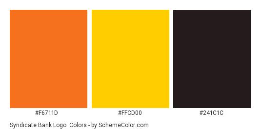 Syndicate Bank Logo - Color scheme palette thumbnail - #f6711d #ffcd00 #241c1c