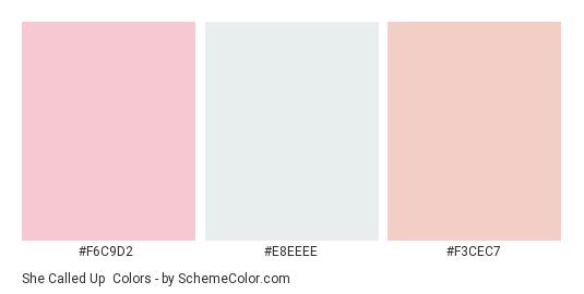 She Called Up - Color scheme palette thumbnail - #f6c9d2 #e8eeee #f3cec7