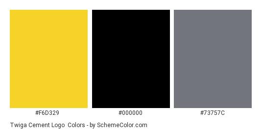 Twiga Cement Logo - Color scheme palette thumbnail - #f6d329 #000000 #73757c