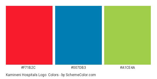 Kamineni Hospitals Logo - Color scheme palette thumbnail - #f71b2c #007db3 #a1ce4a